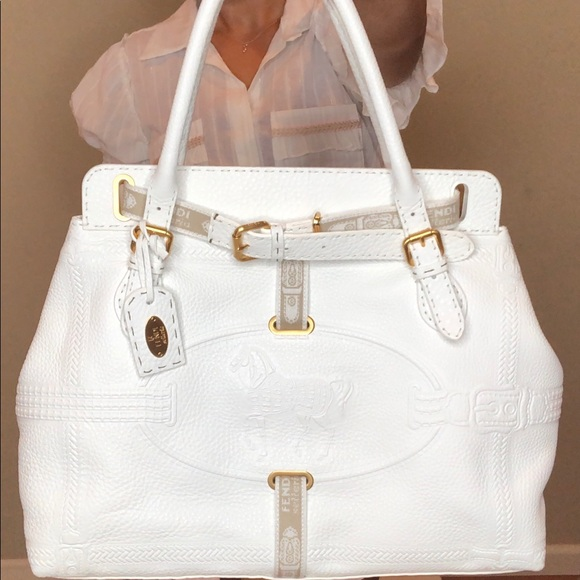 Fendi Handbags - Fendi White Leather Villa Selleria Borghese Tote